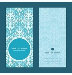Light blue swirls damask vertical round vector