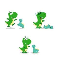 Little funny dinosaurs vector