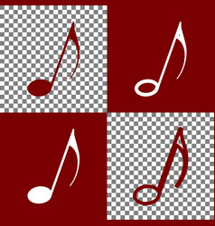 Music note sign bordo and white icons and vector