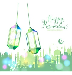 Muslim abstract greeting banners vector