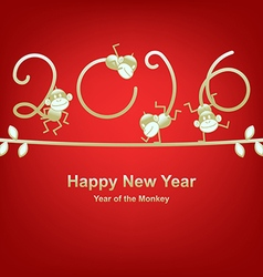 New Year 2016 greeting year of the monkey vector image vector image