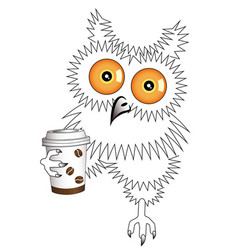 Owl with a disposable coffee cup vector