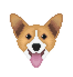 Pembroke welsh corgi dog head in pixel art style vector