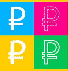 Ruble sign four styles of icon on four color vector