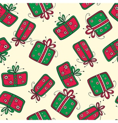 Seamless pattern with christmas red and green vector image vector image