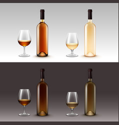 Set of wine bottles and glasses isolated vector