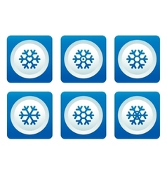 Snowflake set on blue button vector