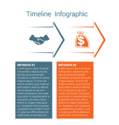 Timeline infographic 2 color arrows vector