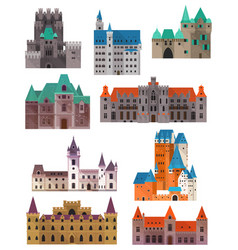 vintage or retro castles or forts citadel and vector image vector image