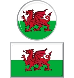 Welsh round and square icon flag vector