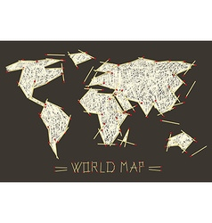 World Map Made From Safety Matches vector image vector image
