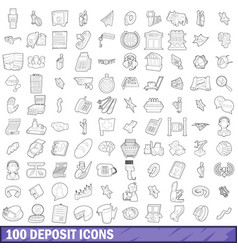 100 deposit icons set outline style vector