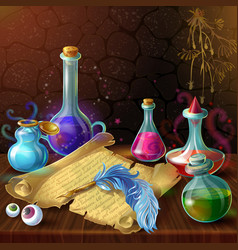 Magic potion jars composition vector