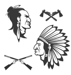 Set of american native chief heads American vector image