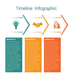 Timeline infographic 3 color arrows vector