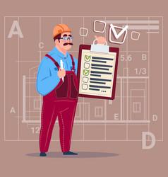 Cartoon builder carpenter hold checklist vector