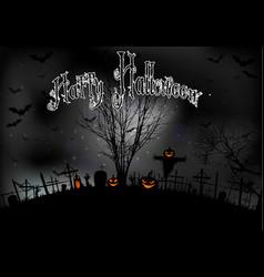 Halloween night with tree pumpkins and bats vector