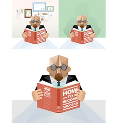 Businessman reading a book concept vector