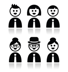 People in bussiness clothes tie icons set vector image