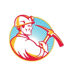 Coal Miner With Pick Axe Looking Up Retro vector image
