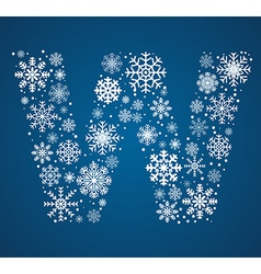 Letter w font frosty snowflakes vector