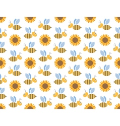 Spring bees and sunflowers seamless pattern vector