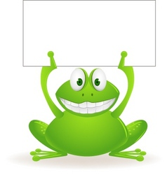 Frog cartoon and blank sign vector