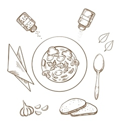 Sketch of hot soup with bread and condiments vector