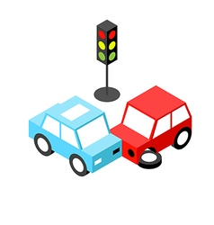 Car accident traffic light isometric vector