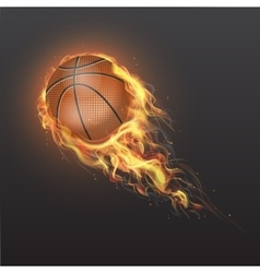 Realistic basketball ball on fire vector image