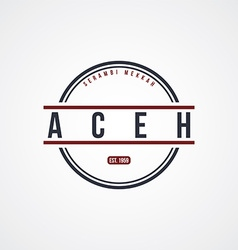 Aceh badge indonesia label theme vector