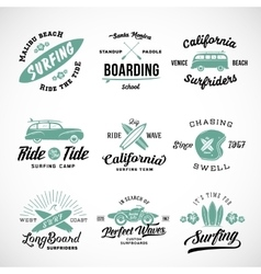 Retro style surfing labels logos or t vector