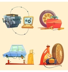Auto service retro cartoon icon set vector