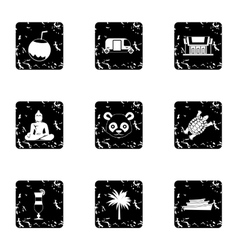 Attractions of thailand icons set grunge style vector