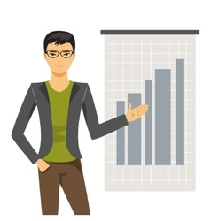 Businessman holds presentation vector