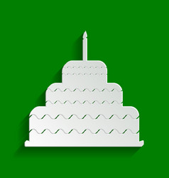 Cake with candle sign paper whitish icon vector