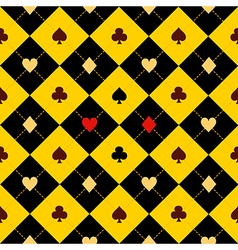Card Suits Yellow Black Diamond Background vector image vector image