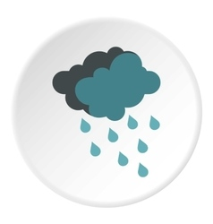 Cloud with rain icon flat style vector