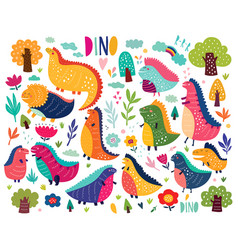 cute dinosaurs vector image