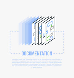 documentation process line vector image vector image