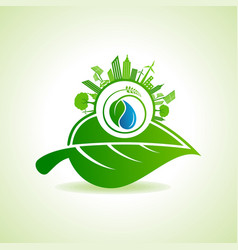 Eco energy concept with leafcityscape and water vector