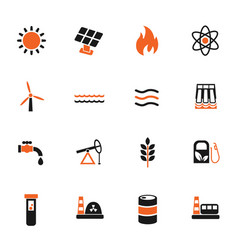 fuel and power icon set vector image vector image