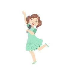Girl in blue dress singing in karaoke vector