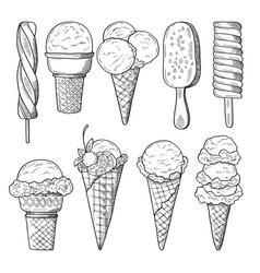 hand drawn set of ice creams vector image