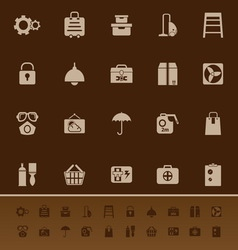 Home storage color icons on brown background vector image