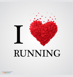 I love running heart sign vector