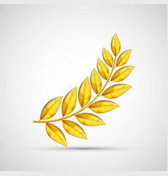 Icon gold olive branch symbol of victory and vector