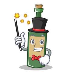 Magician wine bottle character cartoon vector