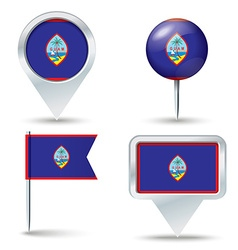 Map pins with flag of guam vector