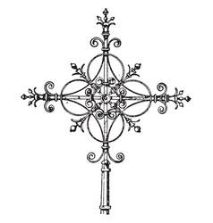 Modern steeple cross vintage vector